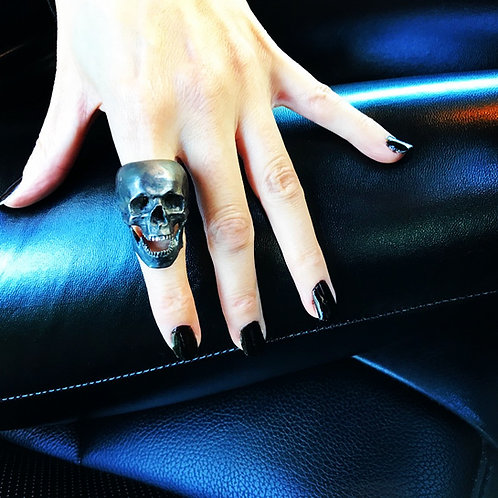 Ladies Skull Ring - Sterling Silver Oxidised Skull Ring with Jaw UK Hallmarked