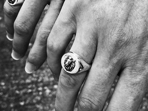 Hand Carved Unisex Sterling Silver Oxidised Heavy Weight Lion Signet Ring
