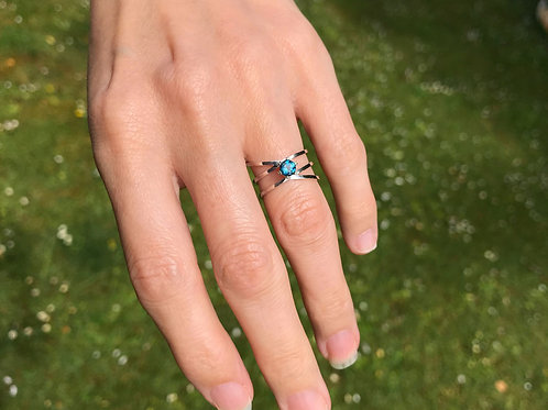 Sterling Silver and Round London Blue Topaz - Parallel Coil Ring