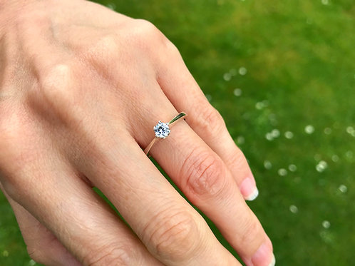 Sterling Silver and Round Cut Cubic Zirconia Engagement Ring - Solitaire Ring