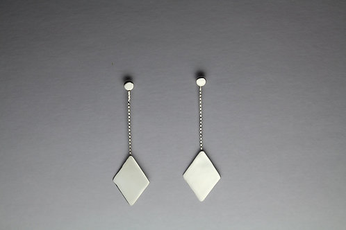 Sterling Silver Box Chain Diamond Shaped Geometric Mirror Earrings