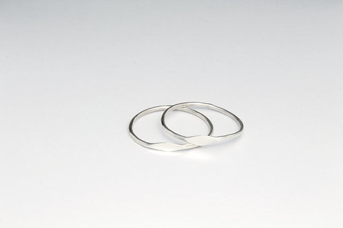 Stacker Ring - Sterling Silver Micro Signet Midi Ring