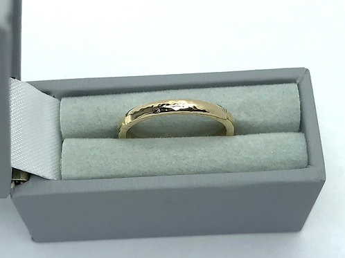 Solid Gold 9 Carat D Shaped Ladies Wedding Band With Textured Finish