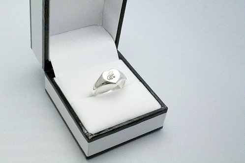 Hallmarked Personalised Signet Ring Hand Stamped Sterling Silver Heart Ring