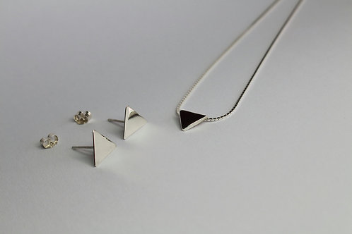Sterling Silver Geometric Mirror Triangle Pendant and earring set with box Chain