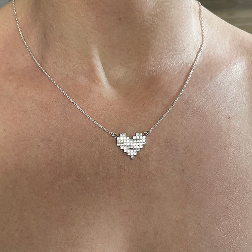 8 Bit Heart - Sterling Silver Pendant Necklace