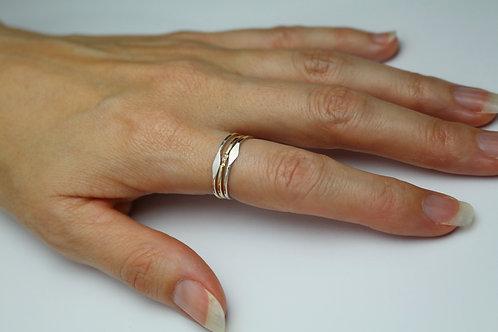 Petite Stacking Ring Set - 9 carat Gold Stacking Ring Gold band Sterling Silver