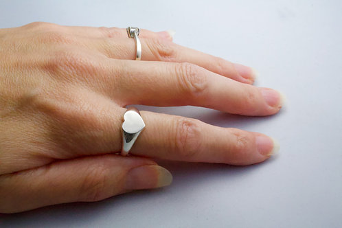 Hallmarked Signet Ring Hand Stamped Sterling Silver Heart Signet Ring