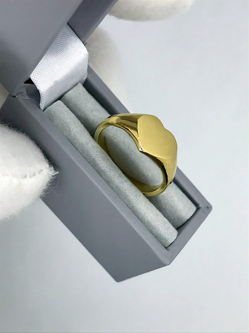 18ct Gold Signet Ring Heart Signet Ring Made To Measure Heart Ring