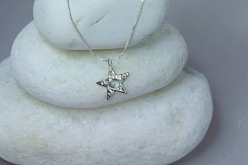 Sterling Silver and Moon Stone Star Pendant