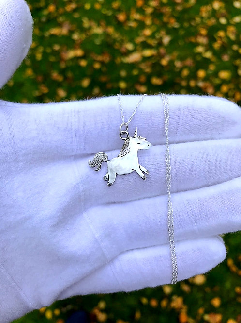 Unicorn Necklace - Sterling Silver Unicorn Pendant with Rope Chain