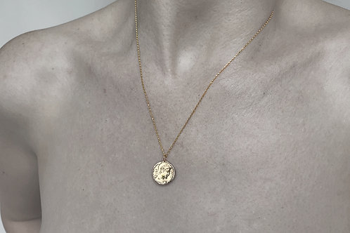 Coin Charm Necklace - Roman Coin Gold 9ct Charm Pendant