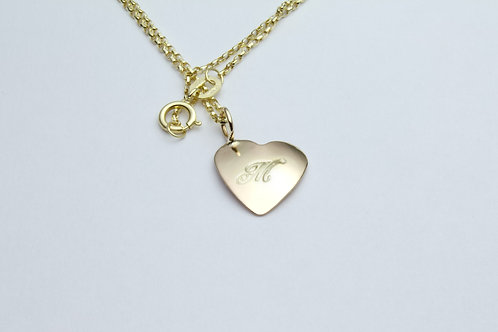 Personalised Necklace - Engraved Heart of Gold 9ct Heart Pendant