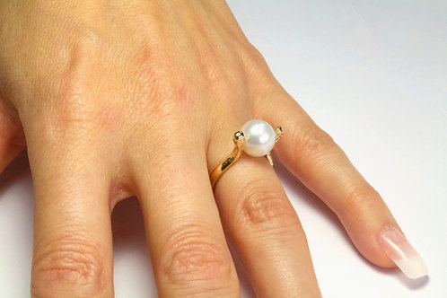 Cultured Pearl Gold Ring - Featuring High Grade AAA Natural 9mm Pearl