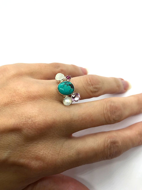 Stacking Ring featuring a Turquoise, Moon Stone, Pink Morganite Topaz and a Ruby