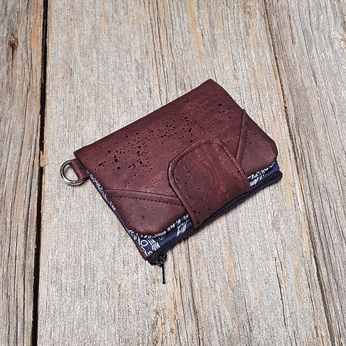 Mini Wallet - Navy Feathers