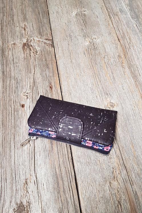 Wallet - Navy Rosa (black x silver cork)