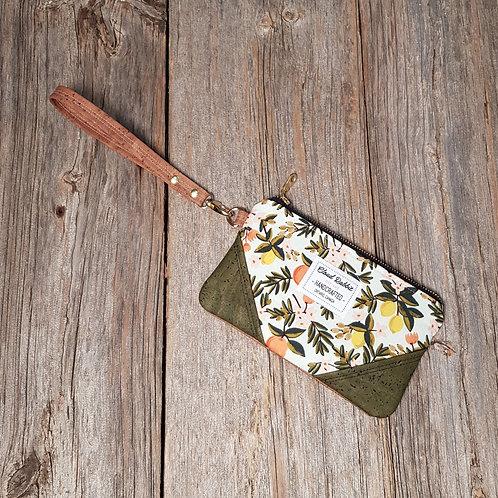 Rex Wristlet - Mint Citrus Floral