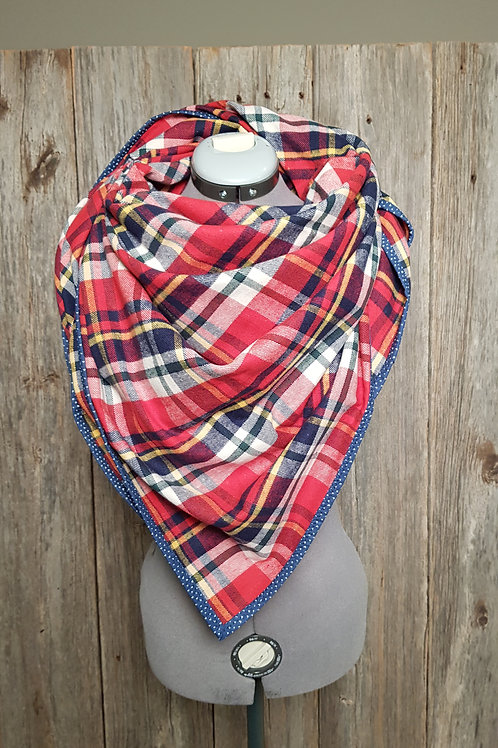 Blanket Scarf - Red, Green, Yellow & Navy