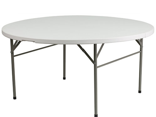 6FT Round White Folding Table