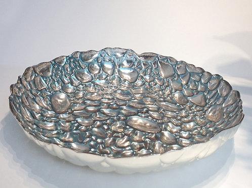 Blue & Silver Glass Serving Bowl