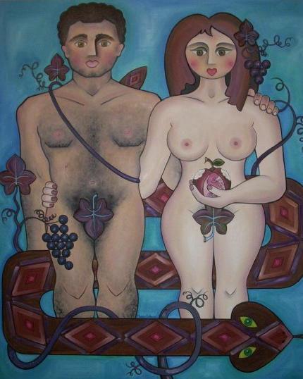 Adán y Eva despues de comer la manzana
