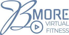Bmore Fitness logo - it says Bmore Virtual Fitness with a play button arrow off the B.