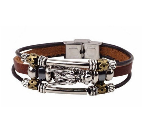 Men Bangle Leather Dragon Bracelet