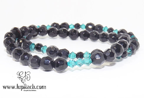 Stretchy Black w/Blue Crystals