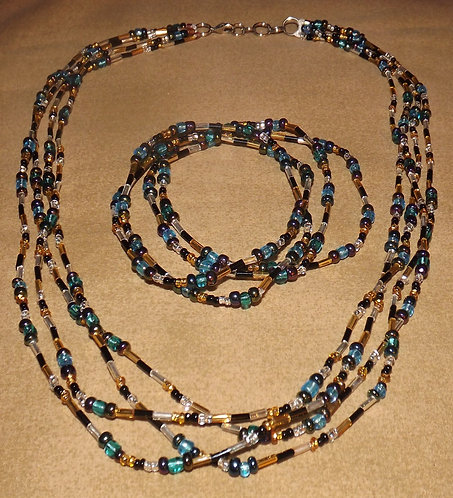 Blue Multi-Color Neck. & Brac.
