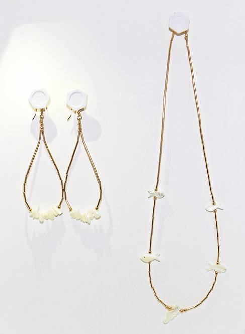 Mother of Pearl Choker $ Earrings
