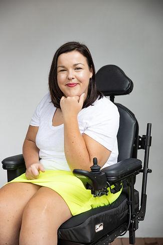 Peta in her wheelchair