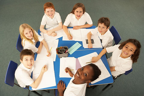 Overhead View Of Schoolchildren Working