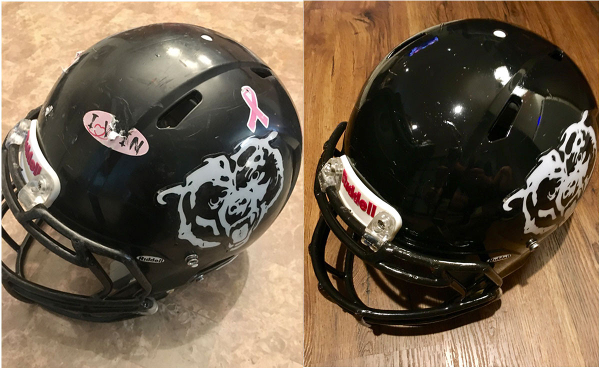 Leyden Bears Helmets Before & After
