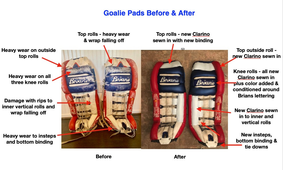 Goalie Pads Before & After