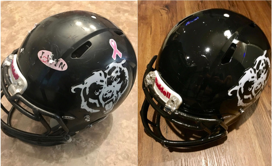 Leyden Bears FB Helmet before & after