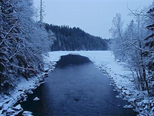 a frozen river in norway