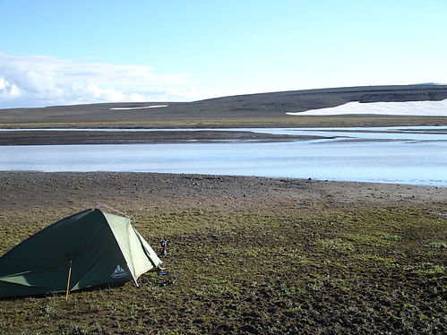 camping near a lake in iceland
