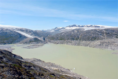 signs of a glacier melting in greenland
