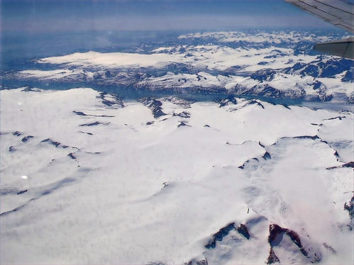 greenland from airplane