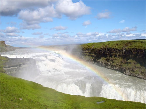 waterfall with a rainbow