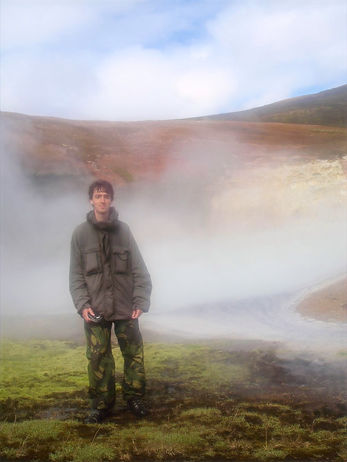 hiking at hot springs in iceland