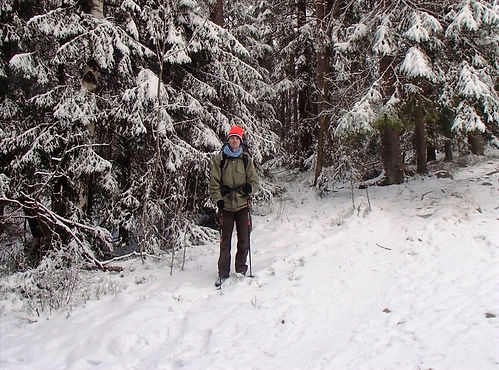 hiking in the snow in norway