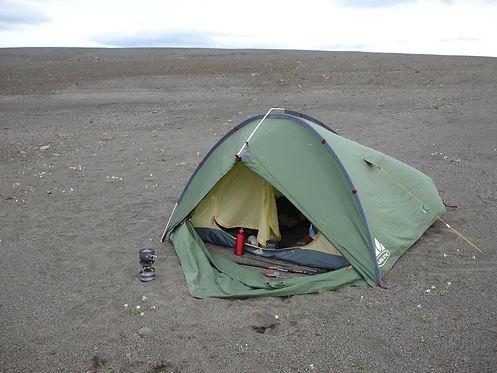 wild camping in a lava field