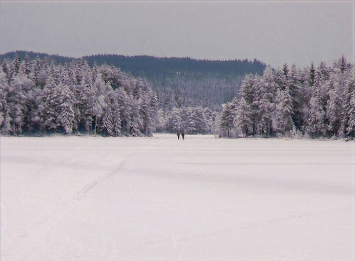 people on a frozen lake