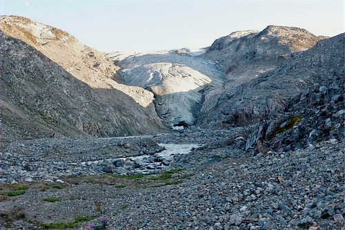hiking near a glacier in greenland