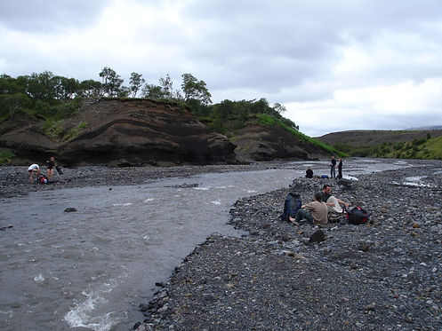 wading a river in iceland