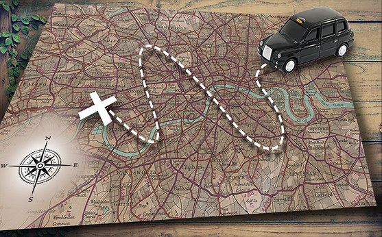A black taxi cab following a broken line pointing on the direction on a cross on an old map with directions