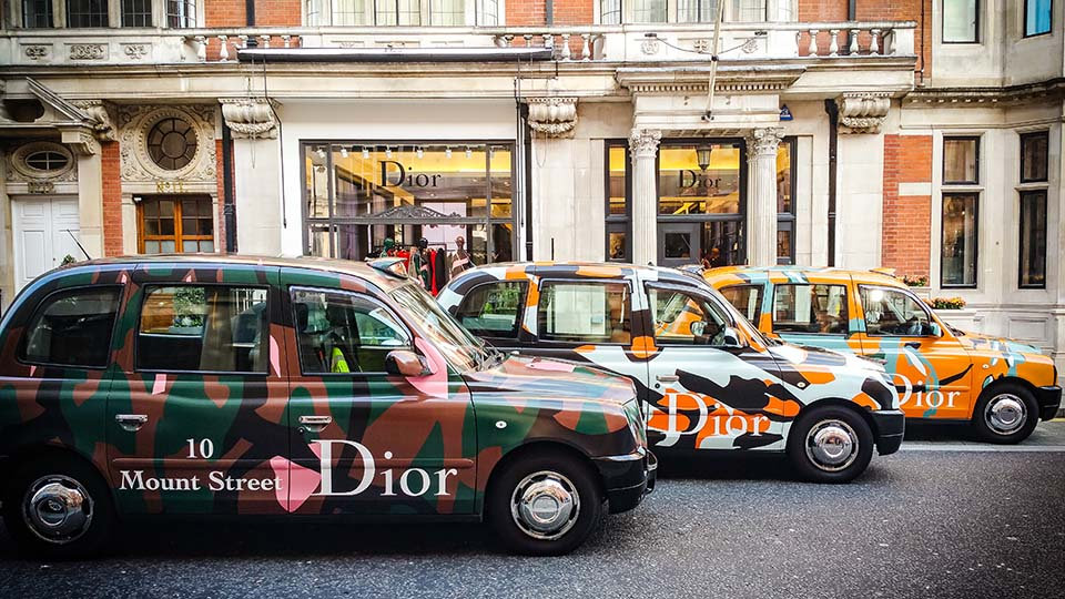 small cabs in DIOR print