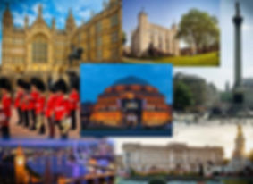 image collage of different places in london